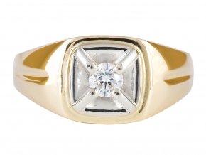 Pánský zlatý prsten s přírodním diamantem