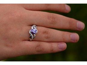 Prstýnek stříbrný ametystově fialový