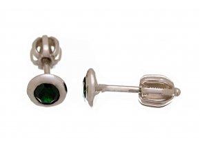 Náušnice stříbrné pecičky na šroubek zelené