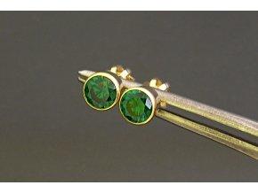 Náušnice zlaté pecičky na šroubek zelené