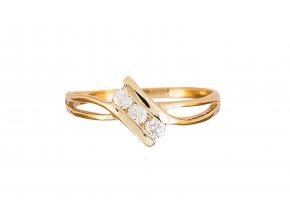Zlatý prstýnek tři přírodní diamanty - brilianty