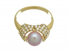 Prstýnek zlatý s růžovou perlou