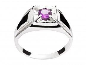 Prsten pánský stříbrný s přírodním ametystem