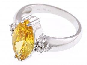 Prstýnek stříbrný s žlutým kamínkem