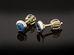Náušnice zlaté pecky modré
