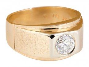 Prsten pánský zlatý s přírodním diamantem
