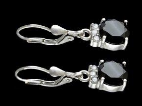 Náušnice stříbrné černá a bílá