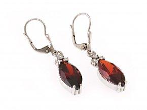 Náušnice stříbrné červené nebo fialové