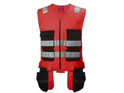 Reflexní řemeslnická vesta Alna - červená S červená Hi-Vis (velikost 2XL)