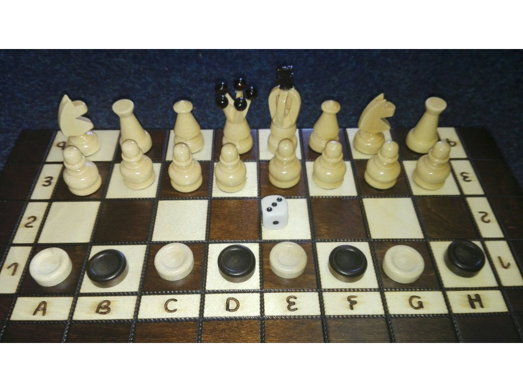 Šachová souprava TOURIST+ Backgammon+dáma-střední