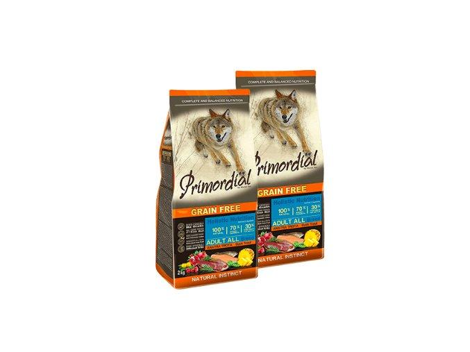 Dvojbalení Primordial Grain Free Adult Trout & Duck 2 x 12 kg