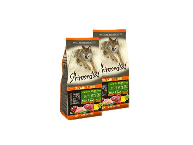Dvojbalení Primordial Grain Free Adult Deer and Turkey 2 x 12 kg
