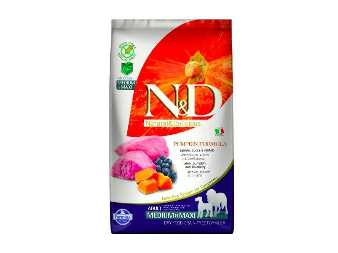 N&D GF Pumpkin DOG Adult M:L Lamb & Blueberry 12kg na aaagranule.cz