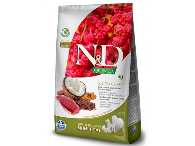 N&D GF Quinoa DOG Skin&Coat Duck & Coconut 7kg na aaagranule.cz