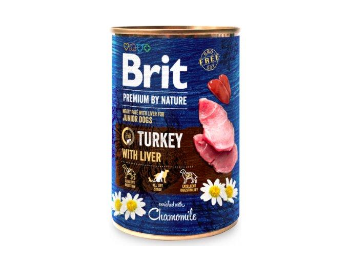 Brit Premium Dog by Nature konzerva Turkey with Liver 400g na aaagranule.cz