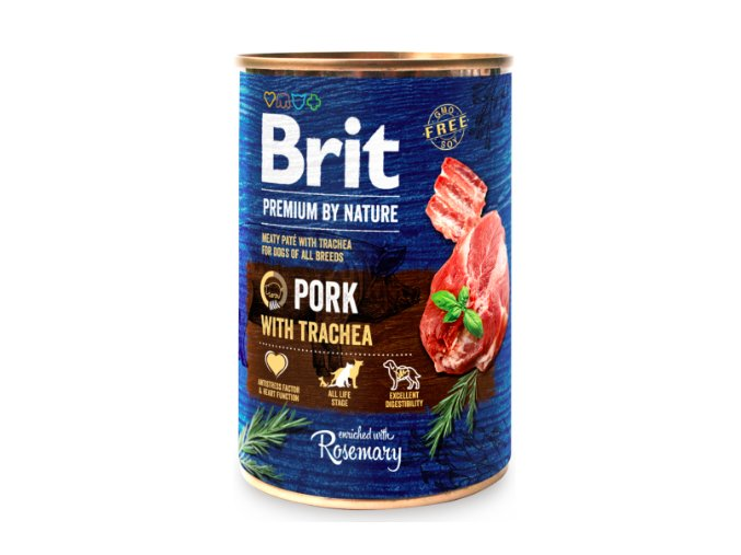 Brit Premium Dog by Nature konzerva Pork with Trachea 400g na aaagranule.cz