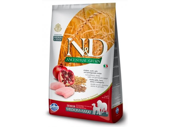 N&D Low Grain Dog Senior M:L Chicken&Pomegranate 12 kg na aaagranule.cz