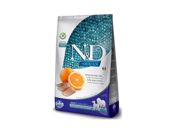 N&D OCEAN DOG GF Adult M:L Herring & Orange 2,5kg na aaagranule.cz