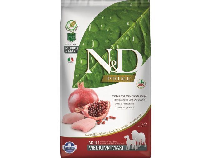 N&D PRIME DOG Adult M:L Chicken and Pomegranate 12kg na aaagranule