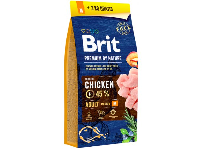 Brit Premium Dog by Nature Adult M 15kg + 3kg na aaagranule