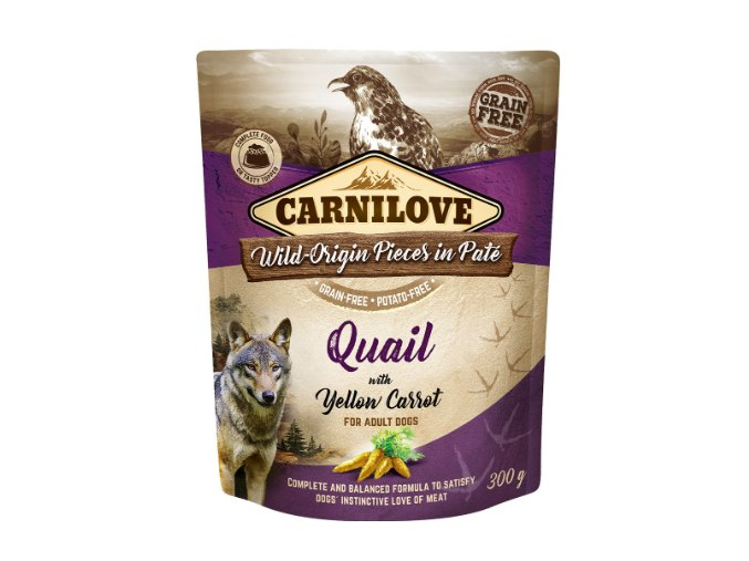 Carnilove Dog Pouch Paté Quail and Yellow Carrot 300g na aaagranule