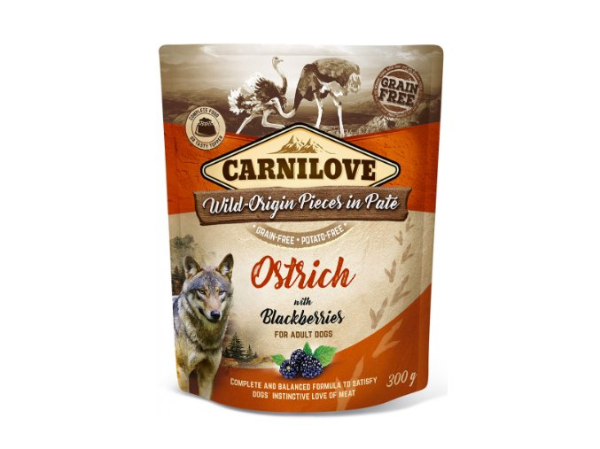 Carnilove Dog Pouch Paté Ostrich and Blackberries 300g na aaagranule