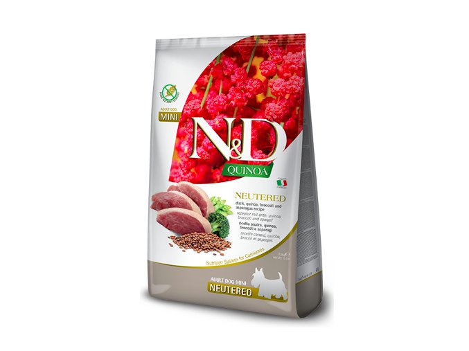 N&D Quinoa DOG Neutered Adult Mini Duck&Broccoli 2,5kg na aaagranule