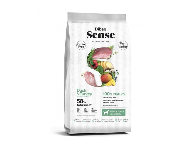 DIBAQ SENSE Grain Free Duck&Turkey Light&Senior 12 kg na aaagranule