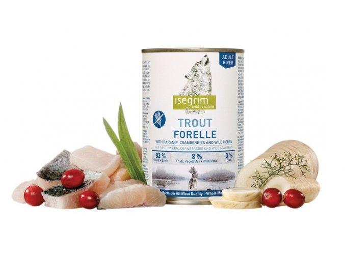 ISEGRIM Adult River Pstruh s pastinákem a brusinkami 400 g na aaagranule