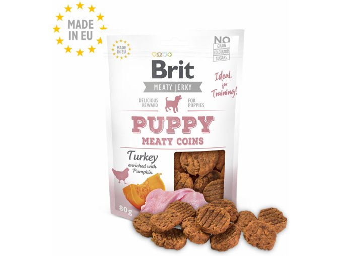 Brit Jerky Puppy Turkey Meaty Coins 80g na aaagranule