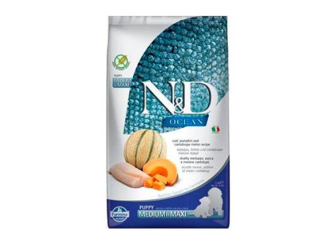 N&D OCEAN DOG Puppy M:L Codfish & Pumpkin & Melon 12kg na aaagranule