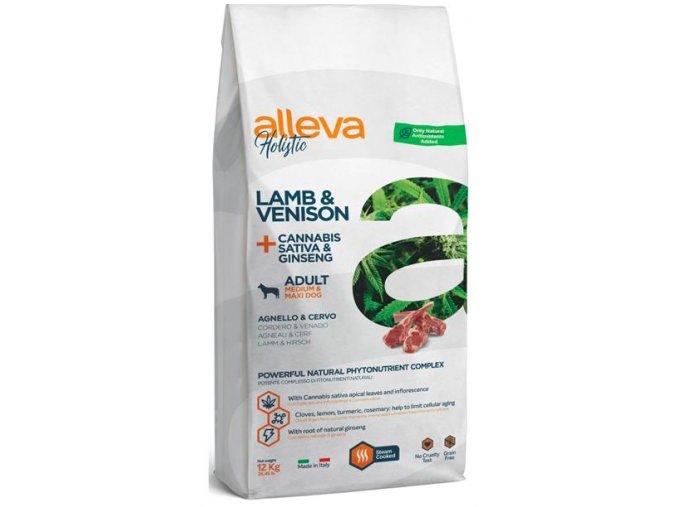 ALLEVA HOLISTIC Dog Dry Adult Lamb&Venison Medium:Maxi 12kg na aaagranule