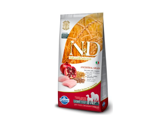 N&D LOW GRAIN DOG LIGHT M:L CHICKEN&POMEGRANATE 12KG na aaagranule.cz