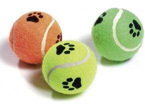 Hračka pes Míč tenisový pískací s tlapkou 6cm