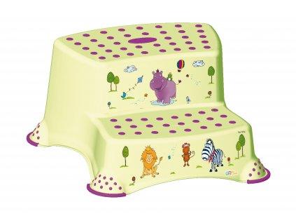 85709 dvojstupinek k wc umyvadlu hippo zelena
