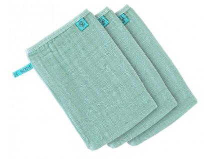 42377 lassig 4babies myci rukavice muslin wash glove set 3 pcs mint