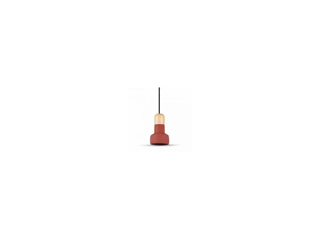 Lustr červený s dřevěným držadlem (VT-7125-3857)