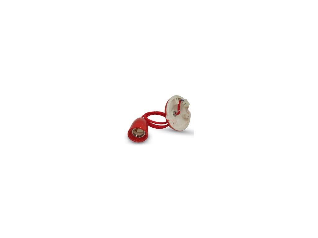 Závěsná porcelánová objímka E27 červená (VT-7998-3807)