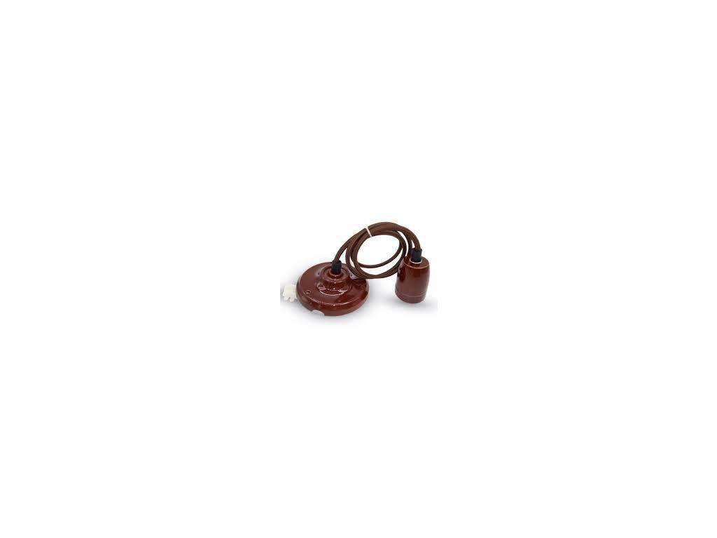 Závěsná porcelánová objímka E27 hnědá (VT-7998-3810)