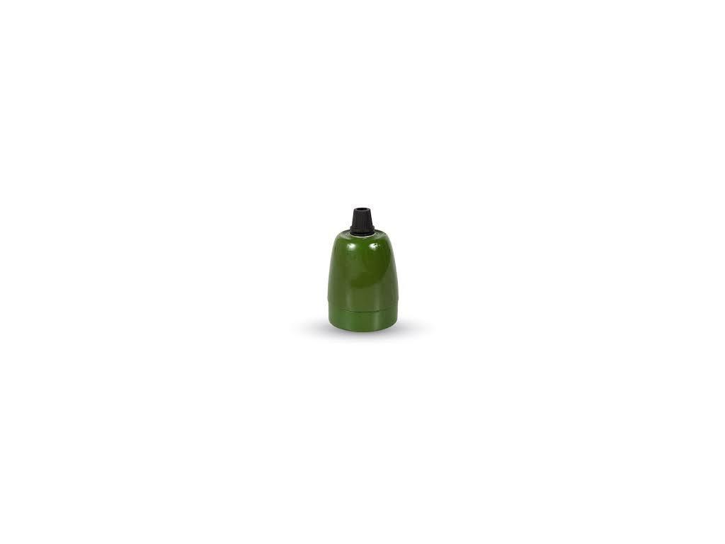 Porcelánové držadlo k lustrům E27 zelené (VT-799-3797)