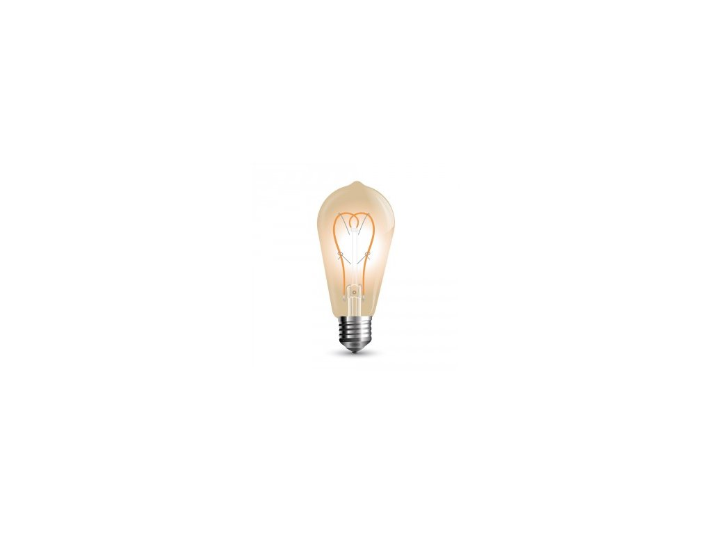 LED žárovka 5W Curve filament jantar (VT-2066-7220)