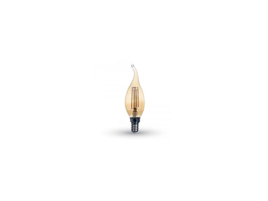 LED žárovka 4W Candle flame filament jantar (VT-1949-7114)