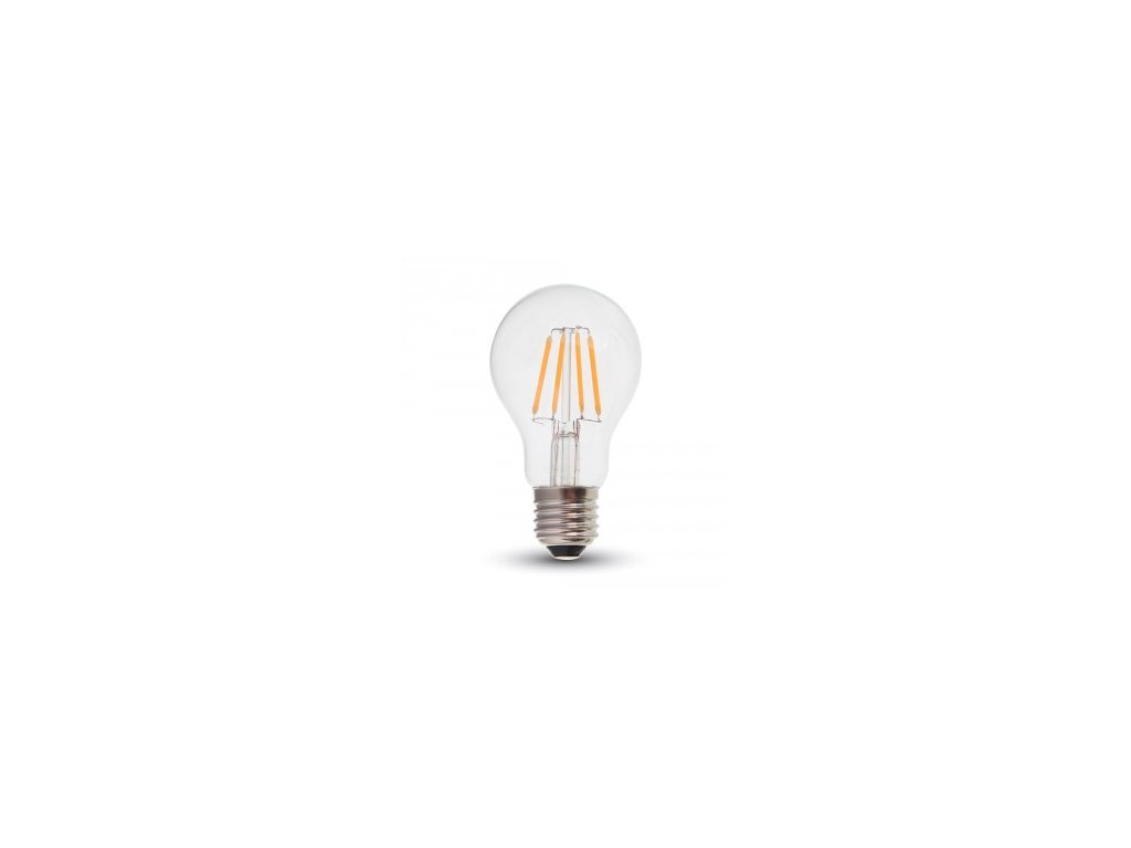 LED žárovka 4W A60 filament čisté sklo stmívatelná (VT-1885D-4364)