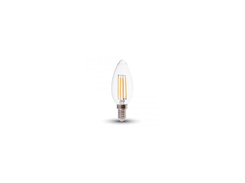 LED žárovka 4W E14 candle filament čisté sklo stmívatelná (VT-1986D-4365)