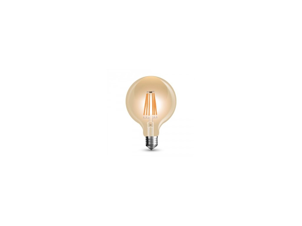 LED žárovka 6W G95 filament E27 jantar 2200K (VT-2026-7156)