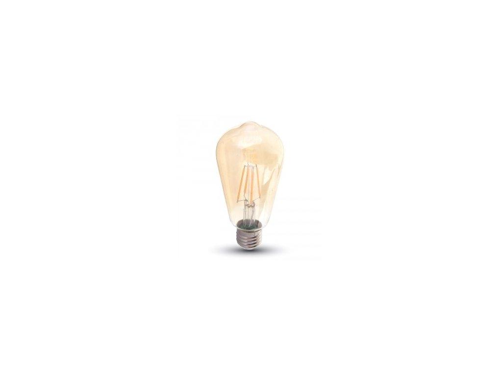 LED žárovka 4W ST64 filament E27 jantar 2200K (VT-1964-4361)
