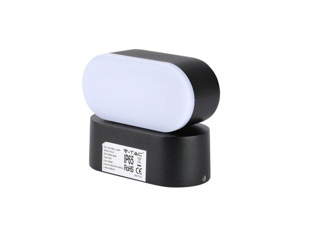 LED nástěnné svítidlo 6W 4000K IP65 černé (VT-816-8289)