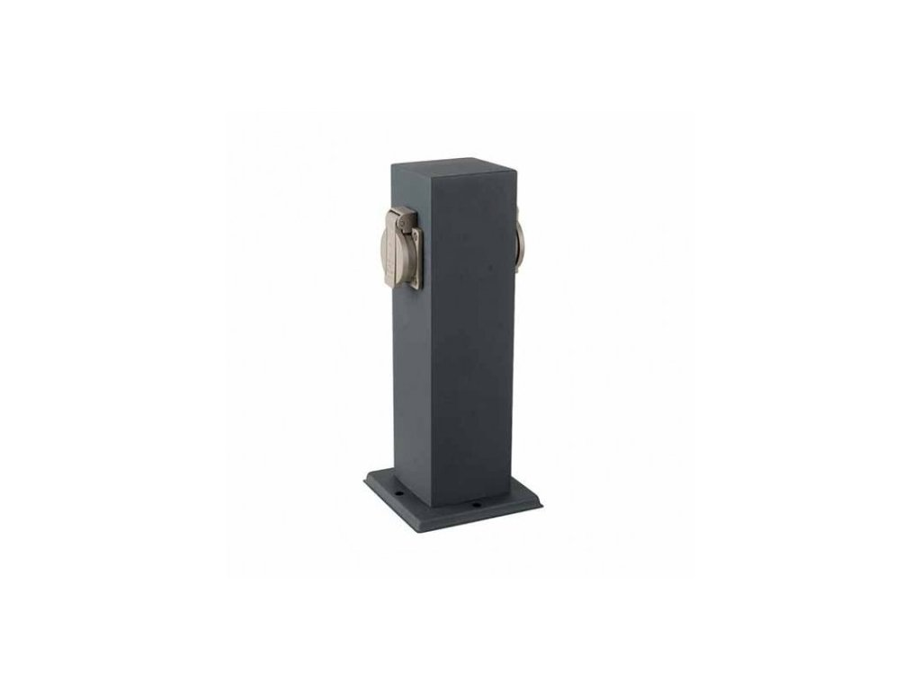 vtac 8820 v tac vt 1155 2 2 ways garden outdoor socket 16a eu standard stainless steel dark grey body ip44 sku 8820 2b6