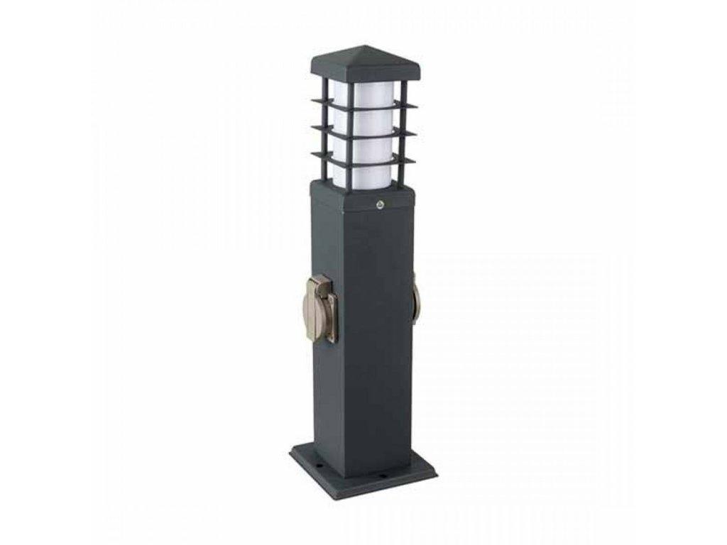 vtac 8822 v tac vt 1156 2 2 ways garden outdoor socket 16a eu standard with holder 1xe27 stainless steel dark grey body ip44 sku 8822 189