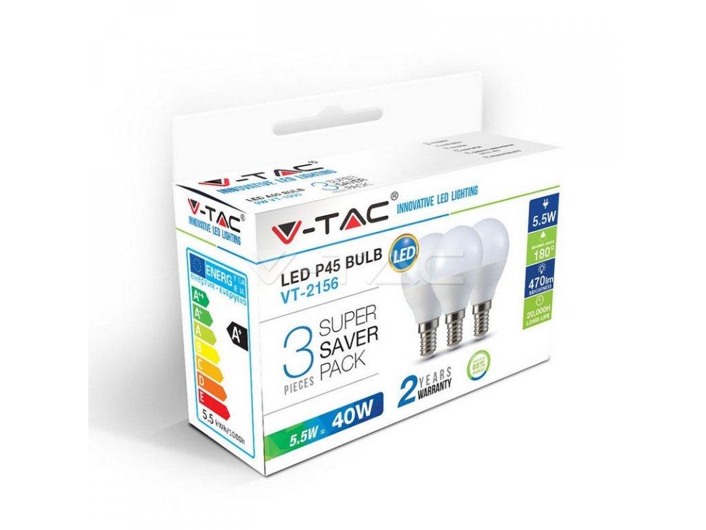 LED žárovka - 5.5W E14 P45 3000K 3ks (VT-2156-7357)
